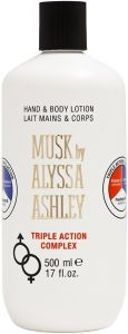 ALYSSA ASHLEY MUSK HAND & BODYLOTION TRIPLE ACTION COMPLEX FLACON 500 ML
