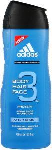 ADIDAS BODY HAIR FACE 3 IN 1 AFTER SPORT SHOWER GEL DOUCHEGEL FLACON 400 ML
