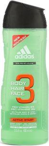 ADIDAS BODY HAIR FACE 3 IN 1 ACTIVE START SHOWER GEL FLACON 400 ML