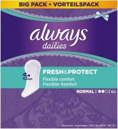 ALWAYS DAILIES FRESH & PROTECT NORMAL INLEGKRUISJES DOOSJE 60 STUKS