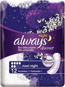 ALWAYS DISCREET MAXI NIGHT VERBAND PAK 12 STUKS