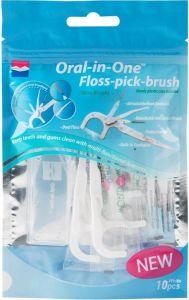 WORLD WIDE DAILY ORAL-IN-ONE FLOSS PICK BRUSH WHITE PAK 10 STUKS
