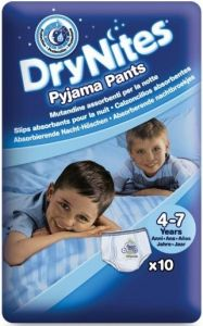 HUGGIES DRY NITES PYJAMA PANTS 4-7 JAAR (JONGENS) PAK 10 STUKS