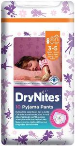 HUGGIES DRY NITES PYJAMA PANTS 3-5 JAAR (MEISJES) PAK 10 STUKS