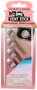 YANKEE CANDLE CAR VENT STICK PINK SANDS AUTO LUCHTVERFRISSER PAK 4 STUKS