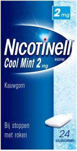 NICOTINELL COOL MINT 2 MG KAUWGOM BIJ STOPPEN MET ROKEN DOOSJE 24 STUKS