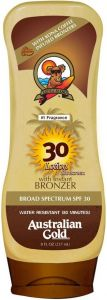 AUSTRALIAN GOLD LOTION SUNSCREEN SPF30 HIGH PROTECTION WITH BRONZER ZONNEBRAND FLACON 237 ML