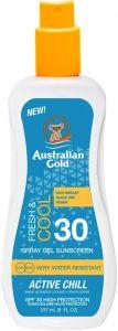 AUSTRALIAN GOLD ACTIVE CHILL SPF 30 FRESH & COOL GEL ZONNEBRAND SPRAY 237 ML