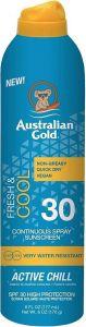 AUSTRALIAN GOLD ACTIVE CHILL SPF 30 FRESH & COOL SUNSCREEN ZONNEBRAND SPRAY 177 ML