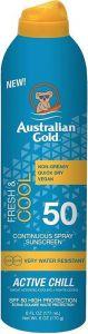 AUSTRALIAN GOLD ACTIVE CHILL SPF 50 FRESH & COOL SUNSCREEN ZONNEBRAND SPRAY 177 ML