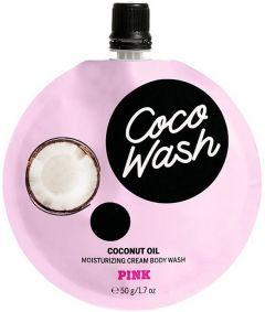 VICTORIA'S SECRET PINK COCO WASH COCONUT OIL MOISTURIZING CREAM BODY WASH DOUCHEGEL ZAKJE 50 GRAM