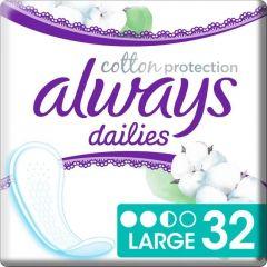 ALWAYS DAILIES COTTON PROTECTION LARGE INLEGKRUISJES PAK 32 STUKS