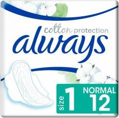 ALWAYS COTTON PROTECTION NORMAL MET VLEUGELS MAANDVERBAND PAK 12 STUKS