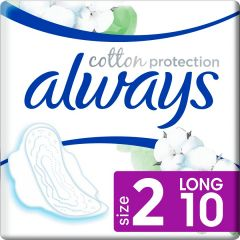 ALWAYS COTTON PROTECTION LONG MET VLEUGELS MAANDVERBAND PAK 10 STUKS