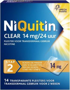 NIQUITIN CLEAR 14 MG NICOTINE PLEISTERS DOOSJE 14 STUKS