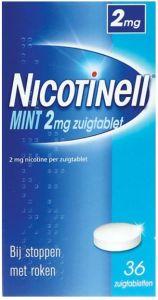 NICOTINELL MINT 2 MG BIJ STOPPEN MET ROKEN ZUIGTABLET DOOSJE 36 STUKS