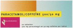 HEALTHYPHARM PARACETAMOL/COFFEINE 500/50MG TABLETTEN DOOSJE 20 STUKS