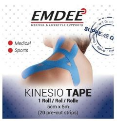 EMDEE KINESIO TAPE 5 CM X 5 M BLAUW DOOSJE 1 STUK