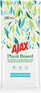 AJAX PLANT BASED MULTI-OPPERVLAKKEN SCHOONMAAKDOEKJES PAK 100 STUKS