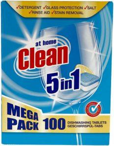 AT HOME CLEAN 5 IN 1 VAATWASTABLETTEN PAK 100 STUKS