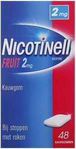 NICOTINELL FRUIT 2MG KAUWGOM BIJ STOPPEN MET ROKEN DOOSJE 48 STUKS