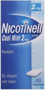 NICOTINELL COOL MINT 2MG KAUWGOM BIJ STOPPEN MET ROKEN DOOSJE 48 STUKS