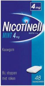 NICOTINELL MINT 4MG KAUWGOM BIJ STOPPEN MET ROKEN DOOSJE 48 STUKS