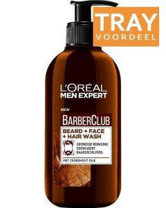 L'OREAL MEN EXPERT BARBERCLUB BEARD + FACE + HAIR WASH TRAY 6 X 200 ML