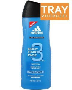 ADIDAS BODY HAIR FACE 3 IN 1 AFTER SPORT SHOWER GEL DOUCHEGEL TRAY 6 X 400 ML