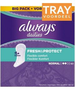 ALWAYS DAILIES FRESH & PROTECT NORMAL INLEGKRUISJES TRAY 4 X 60 STUKS