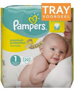 PAMPERS NEW BABY 1 2-5 KG NEW BORN LUIERS TRAY 4 X 22 STUKS