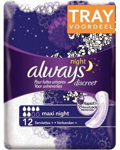 ALWAYS DISCREET MAXI NIGHT VERBAND TRAY 4 X 12 STUKS