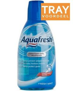 AQUAFRESH EXTRA FRESH DAILY MOUTHWASH FRESH MINT MONDWATER TRAY 8 X 500 ML