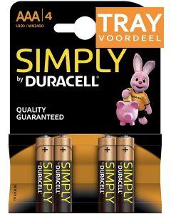 DURACELL SIMPLY AAA BATTERIJEN 1.5V ALKALINE TRAY 10 X 4 STUKS