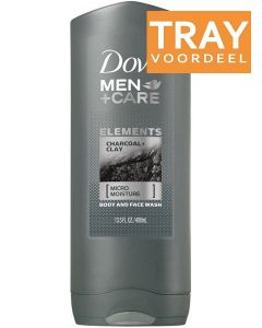 DOVE MEN+CARE ELEMENTS CHARCOAL+CLAY BODY AND FACE WASH DOUCHEGEL TRAY 6 X 400 ML