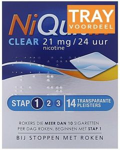 NIQUITIN CLEAR 21 MG NICOTINE PLEISTERS DOOS 24 X 14 STUKS