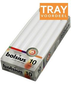 BOLSIUS DINERKAARSEN 230 X 20 MM (WIT) TRAY 6 X 10 STUKS