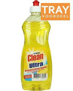 AT HOME CLEAN ULTRA LEMON AFWASMIDDEL TRAY 12 X 500 ML