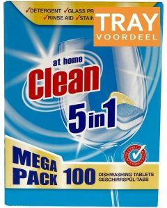 AT HOME CLEAN 5 IN 1 VAATWASTABLETTEN TRAY 6 X 100 STUKS