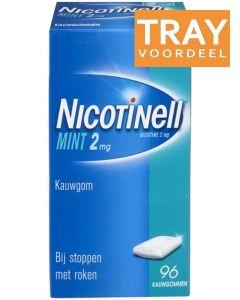 NICOTINELL MINT 2MG KAUWGOM BIJ STOPPEN MET ROKEN DOOS 36 X 96 STUKS